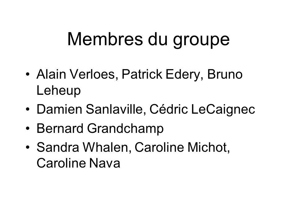 Membres du groupe Alain Verloes, Patrick Edery, Bruno Leheup Damien Sanlaville, Cédric LeCaignec Bernard Grandchamp Sandra Whalen, Caroline Michot, Ca