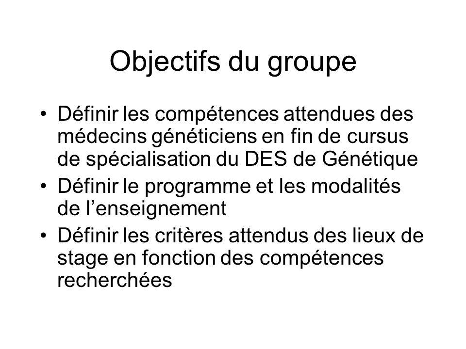 Objectifs du groupe Définir les compétences attendues des médecins généticiens en fin de cursus de spécialisation du DES de Génétique Définir le progr