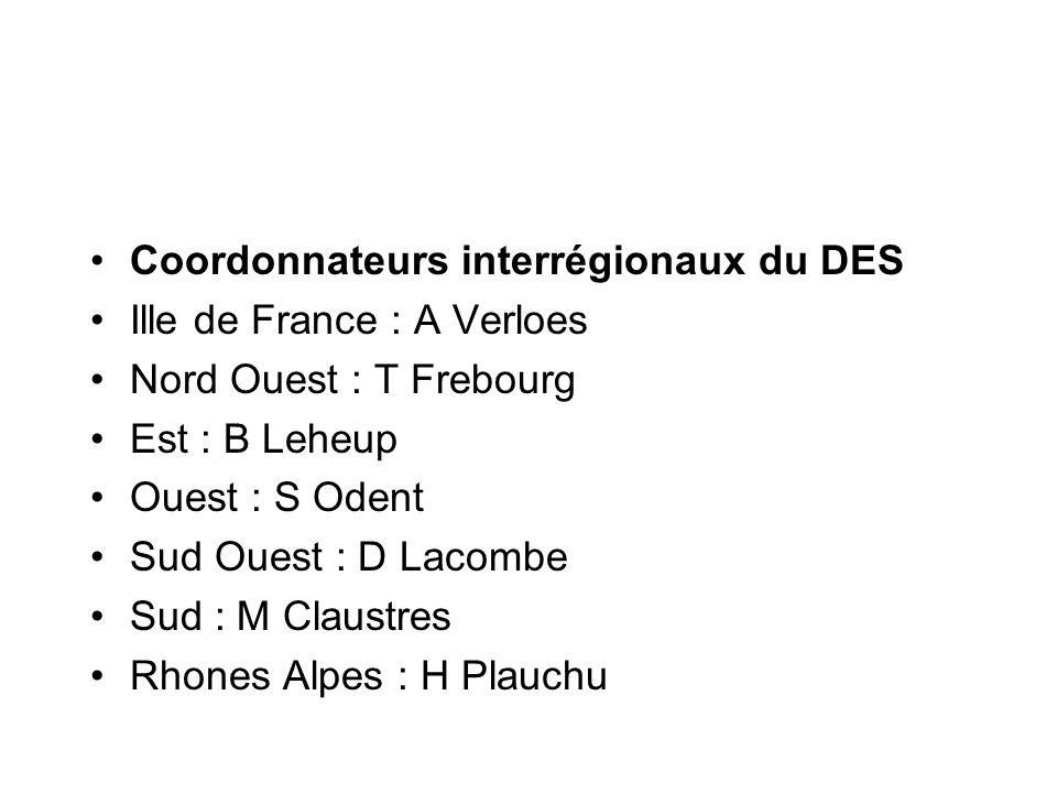 Coordonnateurs interrégionaux du DES Ille de France : A Verloes Nord Ouest : T Frebourg Est : B Leheup Ouest : S Odent Sud Ouest : D Lacombe Sud : M C