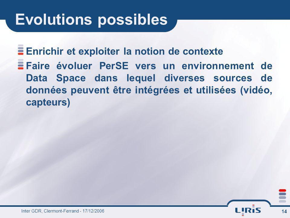Inter GDR, Clermont-Ferrand - 17/12/2006 14 Evolutions possibles Enrichir et exploiter la notion de contexte Faire évoluer PerSE vers un environnement