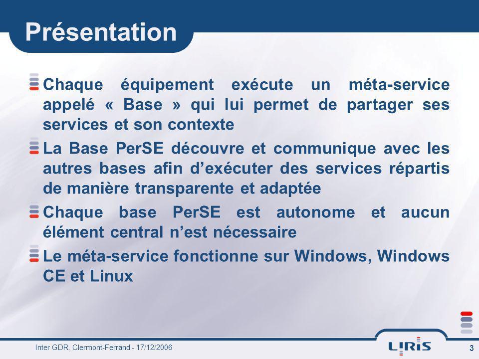 Inter GDR, Clermont-Ferrand - 17/12/2006 3 Présentation Chaque équipement exécute un méta-service appelé « Base » qui lui permet de partager ses servi