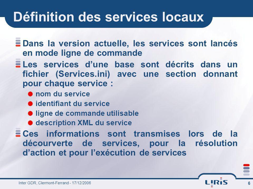 Inter GDR, Clermont-Ferrand - 17/12/2006 6 Définition des services locaux Dans la version actuelle, les services sont lancés en mode ligne de commande