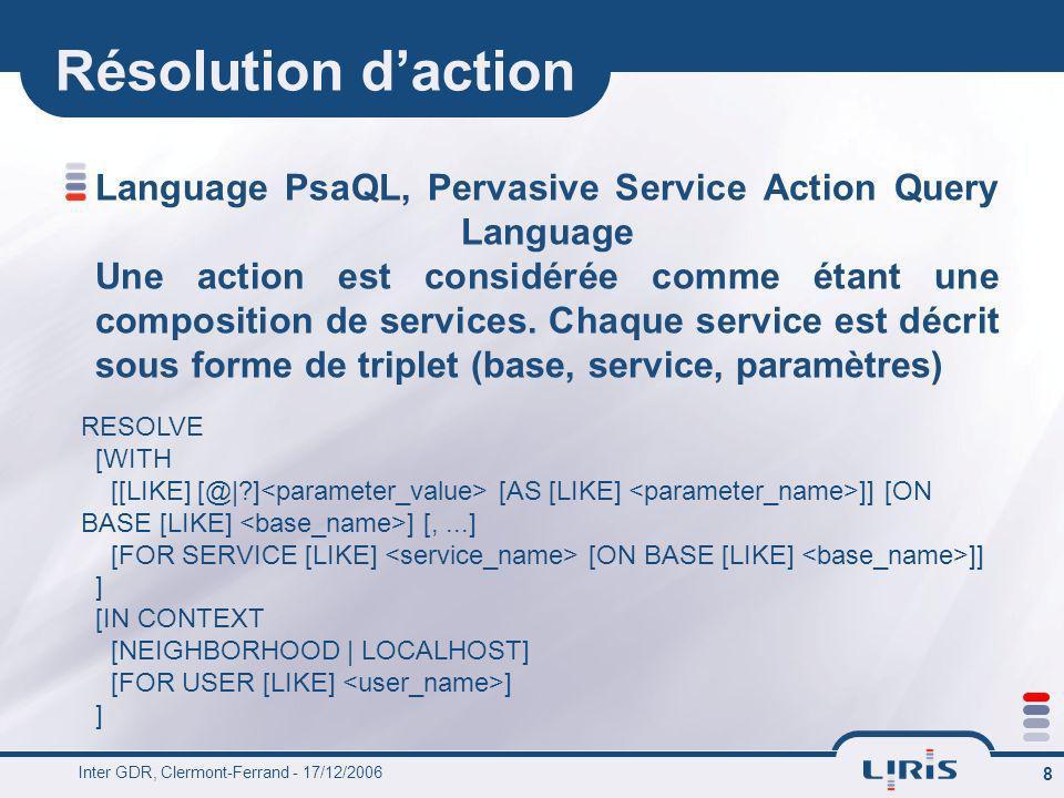 Inter GDR, Clermont-Ferrand - 17/12/2006 8 Résolution daction Language PsaQL, Pervasive Service Action Query Language Une action est considérée comme