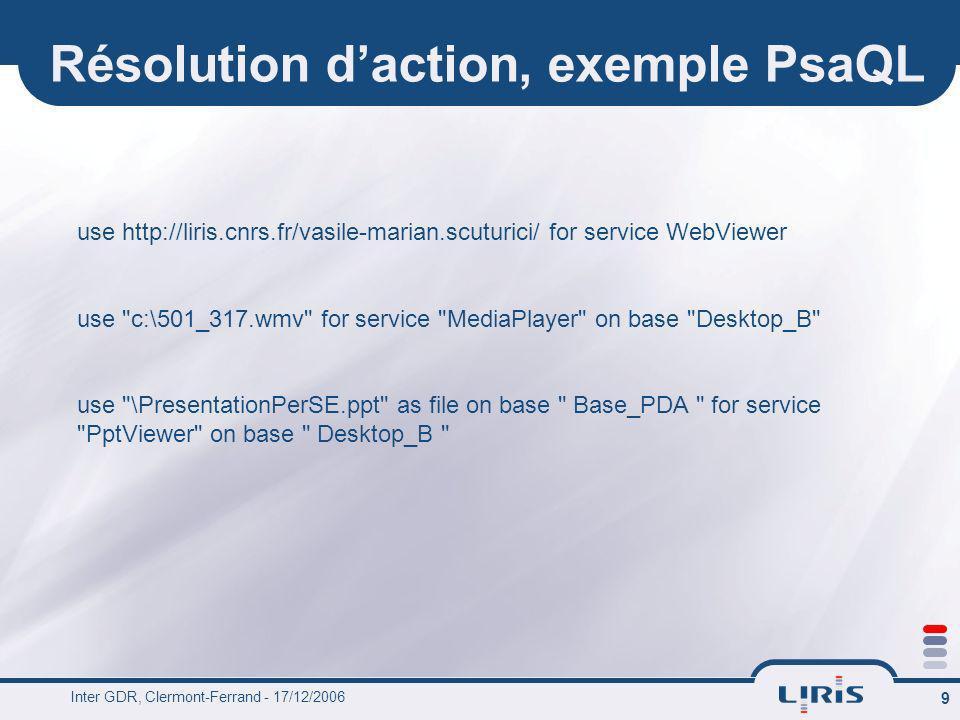 Inter GDR, Clermont-Ferrand - 17/12/2006 9 Résolution daction, exemple PsaQL use http://liris.cnrs.fr/vasile-marian.scuturici/ for service WebViewer u