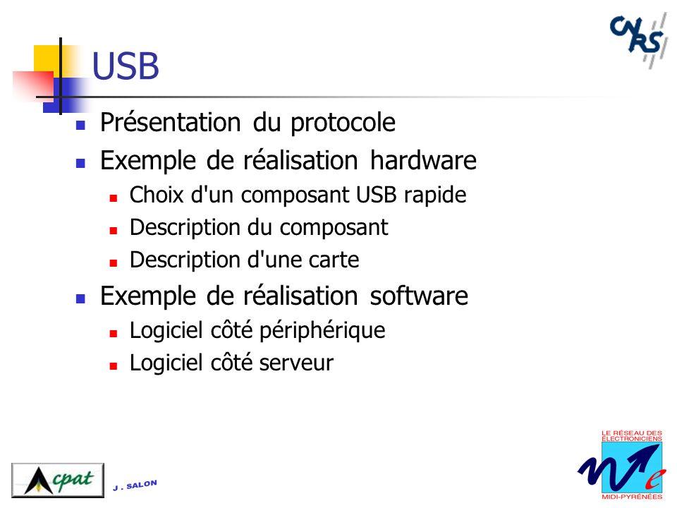 USB Présentation du protocole Exemple de réalisation hardware Choix d'un composant USB rapide Description du composant Description d'une carte Exemple