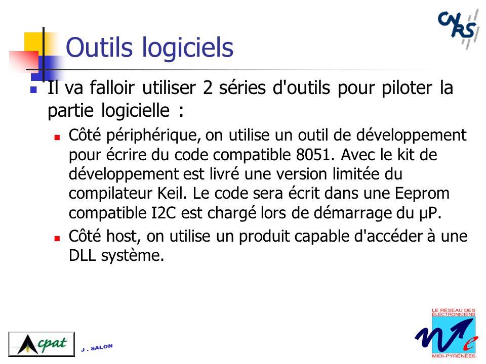 Outils logiciels Il va falloir utiliser 2 séries d'outils pour piloter la partie logicielle : Côté périphérique, on utilise un outil de développement