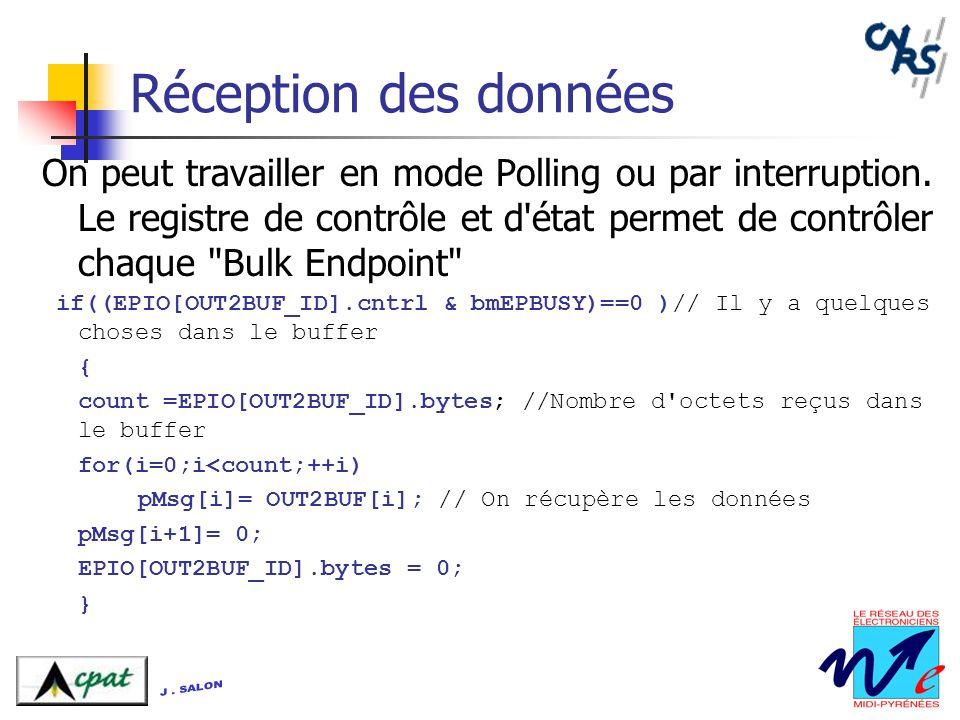 Réception des données On peut travailler en mode Polling ou par interruption. Le registre de contrôle et d'état permet de contrôler chaque