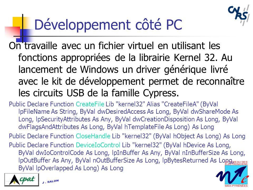 Développement côté PC On travaille avec un fichier virtuel en utilisant les fonctions appropriées de la librairie Kernel 32. Au lancement de Windows u