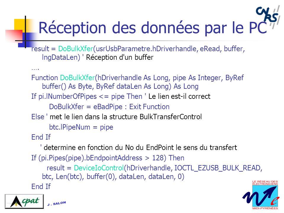 Réception des données par le PC result = DoBulkXfer(usrUsbParametre.hDriverhandle, eRead, buffer, lngDataLen) ' Réception d'un buffer …. Function DoBu