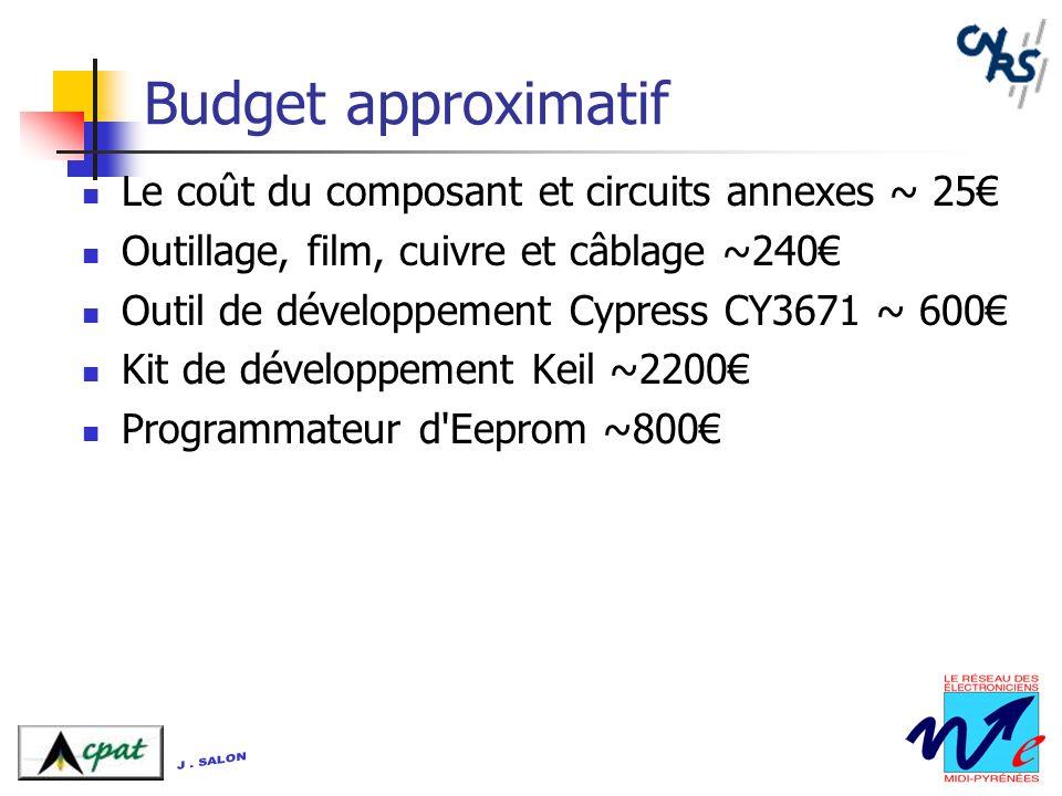 Budget approximatif Le coût du composant et circuits annexes ~ 25 Outillage, film, cuivre et câblage ~240 Outil de développement Cypress CY3671 ~ 600