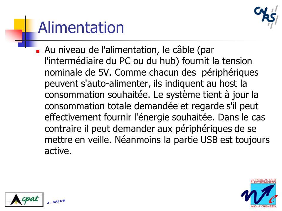 Alimentation Au niveau de l'alimentation, le câble (par l'intermédiaire du PC ou du hub) fournit la tension nominale de 5V. Comme chacun des périphéri