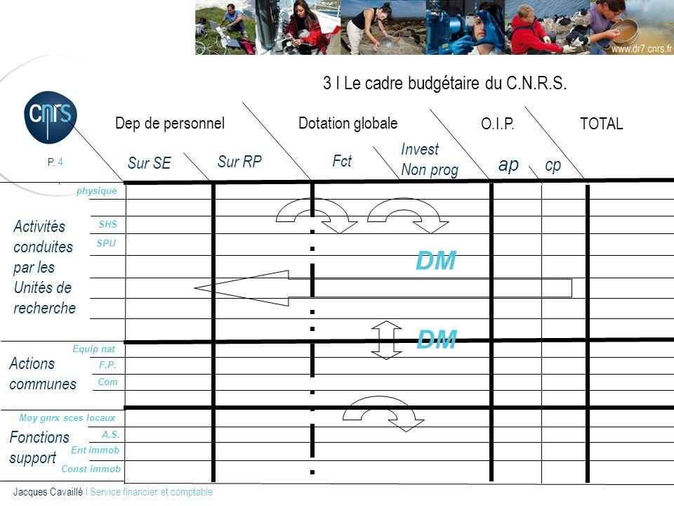 P. 4 Jacques Cavaillé l Service financier et comptable 3 I Le cadre budgétaire du C.N.R.S. Dep de personnel Sur SE Sur RP Fct Invest Non prog O.I.P. a