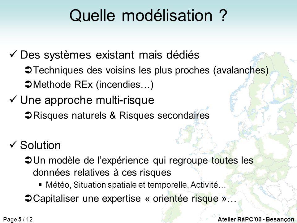 Page 5 / 12Atelier RàPC06 - Besançon Quelle modélisation .