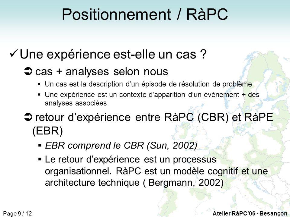 Page 9 / 12Atelier RàPC06 - Besançon Positionnement / RàPC Une expérience est-elle un cas .