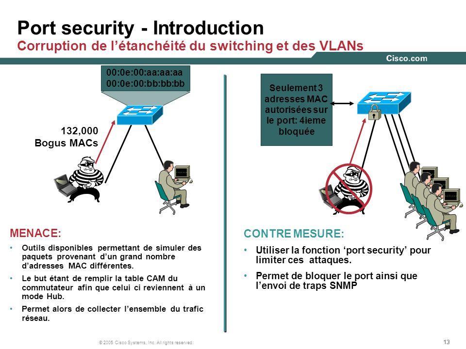 13 © 2005 Cisco Systems, Inc. All rights reserved. Port security - Introduction Corruption de létanchéité du switching et des VLANs MENACE: Outils dis