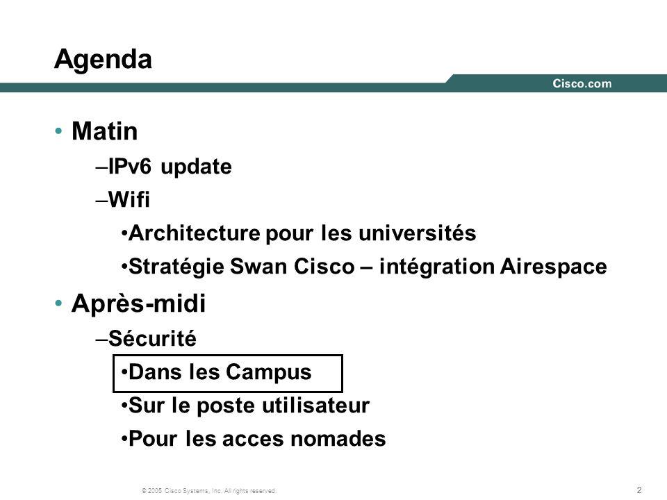 222 © 2005 Cisco Systems, Inc. All rights reserved. Agenda Matin –IPv6 update –Wifi Architecture pour les universités Stratégie Swan Cisco – intégrati