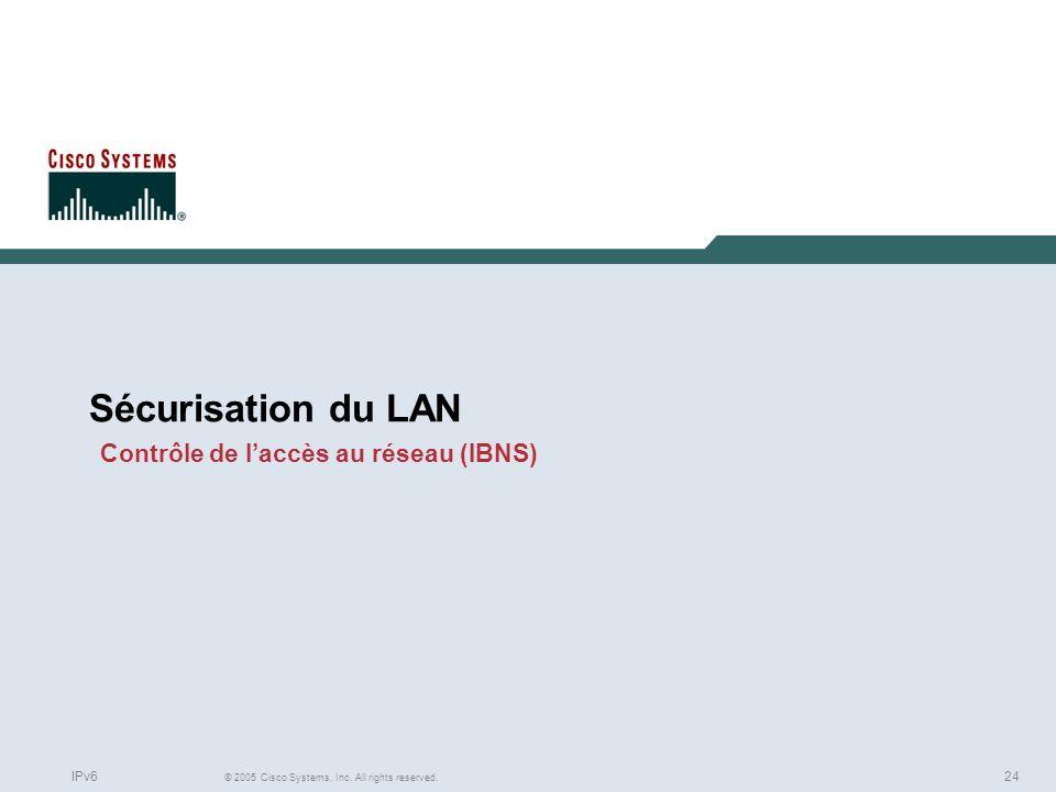 24 © 2005 Cisco Systems, Inc. All rights reserved. IPv6 Sécurisation du LAN Contrôle de laccès au réseau (IBNS)