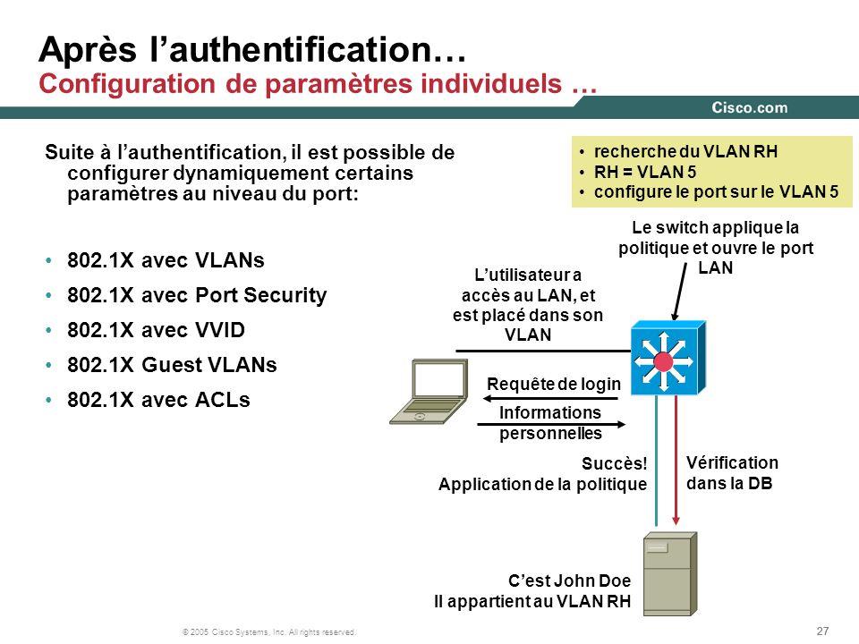 27 © 2005 Cisco Systems, Inc. All rights reserved. Après lauthentification… Configuration de paramètres individuels … Suite à lauthentification, il es
