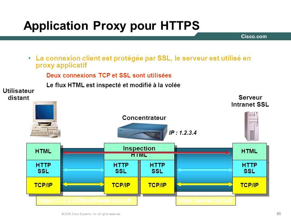85 © 2005 Cisco Systems, Inc. All rights reserved. Application Proxy pour HTTPS La connexion client est protégée par SSL, le serveur est utilisé en pr