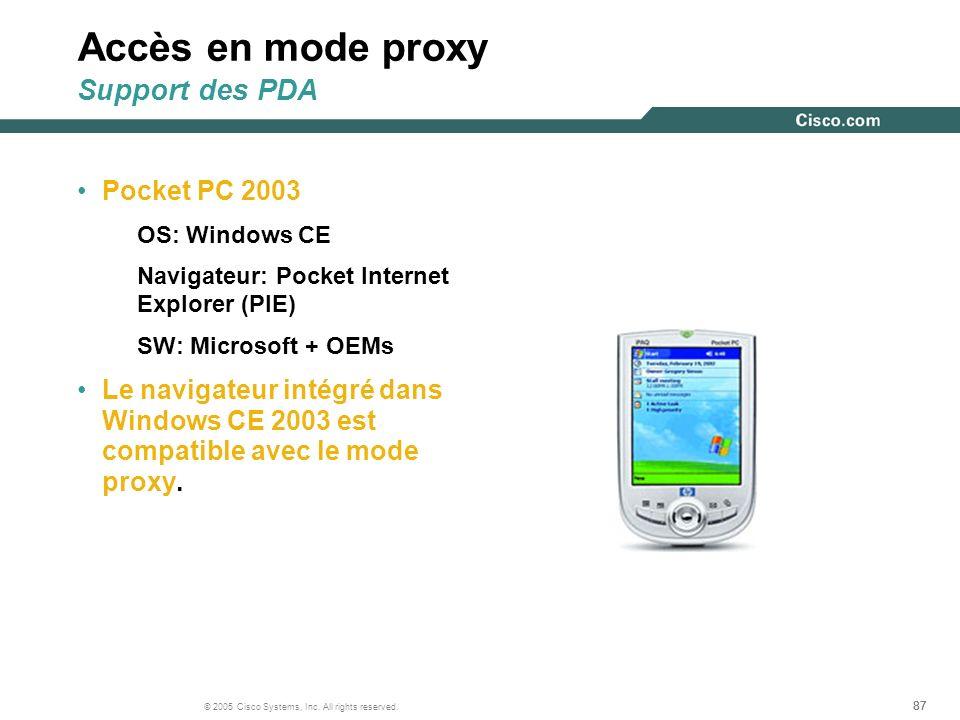 87 © 2005 Cisco Systems, Inc. All rights reserved. Accès en mode proxy Support des PDA Pocket PC 2003 OS: Windows CE Navigateur: Pocket Internet Explo