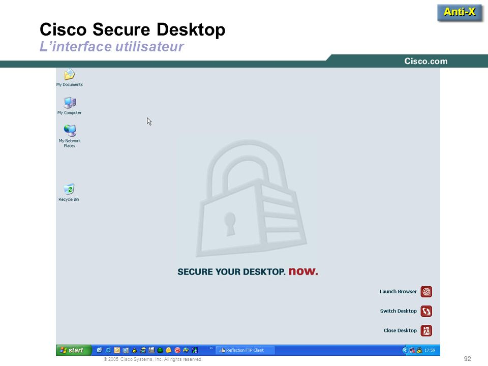 92 © 2005 Cisco Systems, Inc. All rights reserved. Cisco Secure Desktop Linterface utilisateur Anti-X