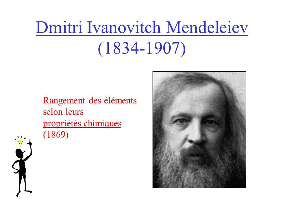 Dmitri Ivanovitch Mendeleiev (1834-1907) Rangement des éléments selon leurs propriétés chimiques (1869)