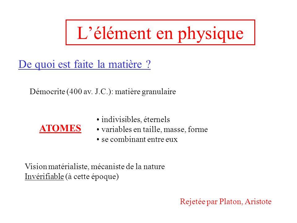 Lélément en physique De quoi est faite la matière .