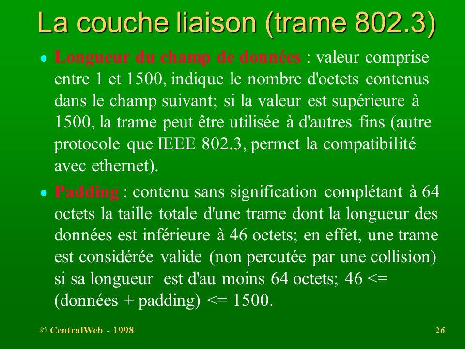 © CentralWeb - 1998 25 La couche liaison (trame 802.3) l Adresse destination : l adresse individuelle, pouvant être de classe