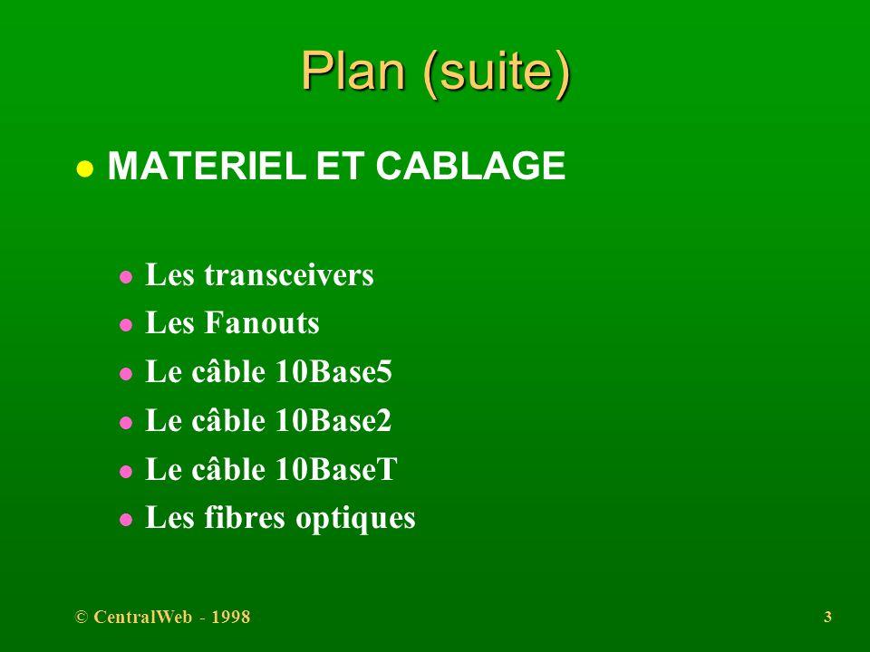 © CentralWeb - 1998 2 Plan l INTRODUCTION l PRINCIPES l TOPOLOGIE l LA COUCHE PHYSIQUE l LA COUCHE LIAISON l La trame 802.3 l La trame Ethernet l La c