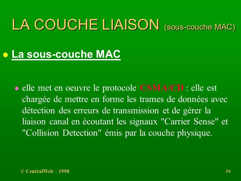 © CentralWeb - 1998 33 LA COUCHE LIAISON (adressage) l l'organisme IEEE réserve des tranches d'adresses pour les constructeurs : l 00:00:0C:XX:XX:XX C
