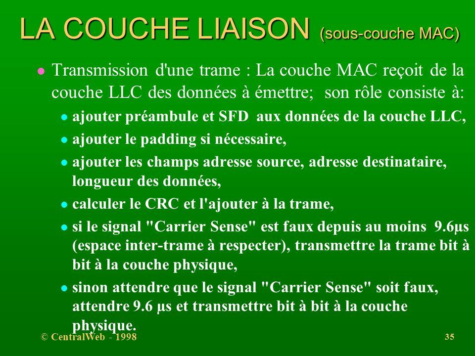 © CentralWeb - 1998 34 LA COUCHE LIAISON (sous-couche MAC) l La sous-couche MAC l elle met en oeuvre le protocole CSMA/CD : elle est chargée de mettre