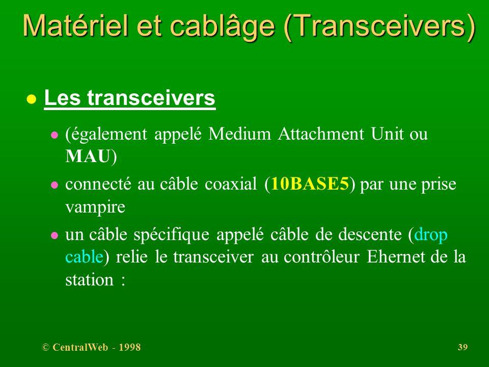 © CentralWeb - 1998 38 LA COUCHE LIAISON (sous-couche LLC) l La sous-couche LLC l normalisée IEEE 802.2 l commune aux normes IEEE 802.3, 802.4 (token
