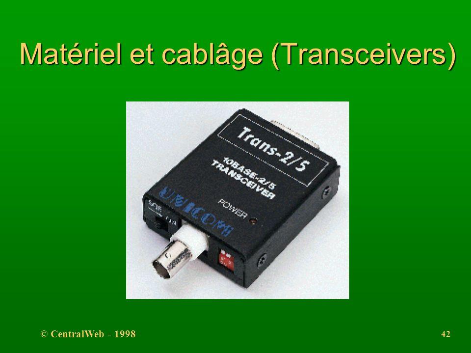 © CentralWeb - 1998 41 Matériel et cablâge (Transceivers) l Fonctions du transceiver l transmettre et recevoir les bits, l détecter les collisions; la