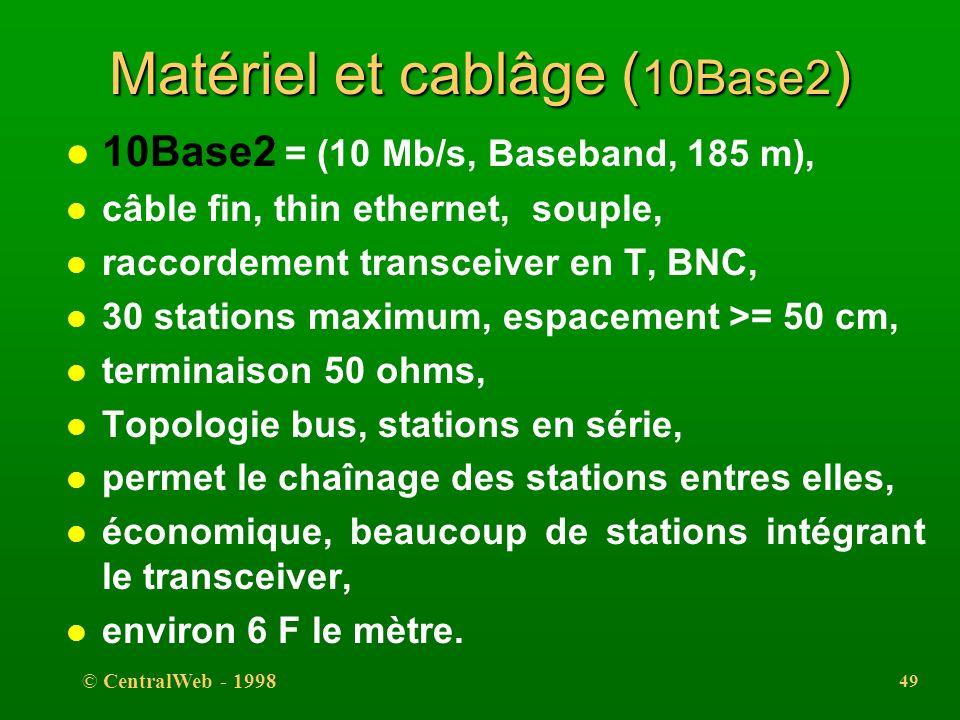 © CentralWeb - 1998 48 Matériel et cablâge ( 10Base5 ) l 10Base5 = (10 Mb/s, Baseband, 500 m), l gros câble (diamètre = 0,4 inch), thick ethernet, l s