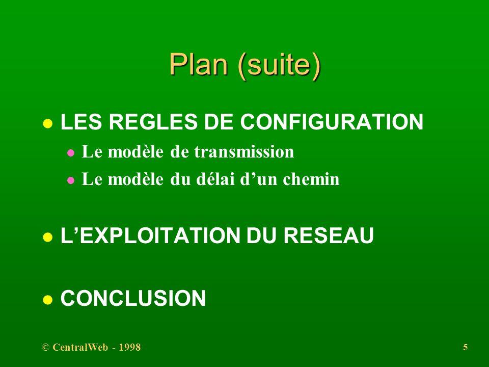 © CentralWeb - 1998 4 Plan (suite) l LINTERCONNEXION l Les répéteurs l Les hubs l Les ponts l Les routeurs l Les pont-routeurs l Les commutateurs l Le