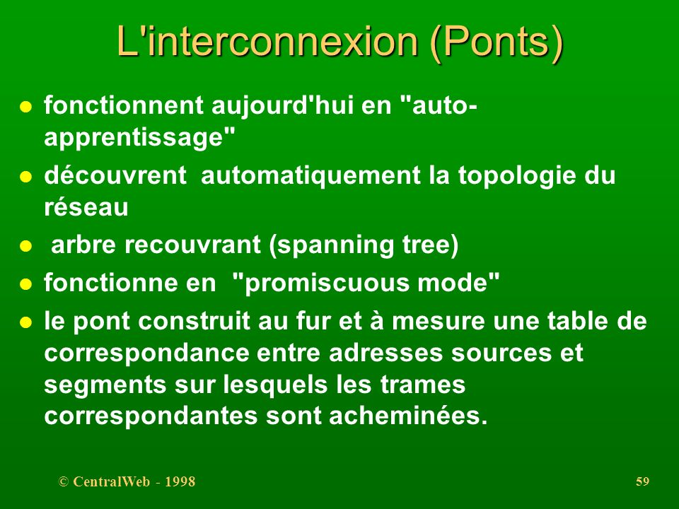 © CentralWeb - 1998 58 L'interconnexion (Ponts) l dispositif actif filtrant l permet d'augmenter la distance maximum entre deux stations, l permet de