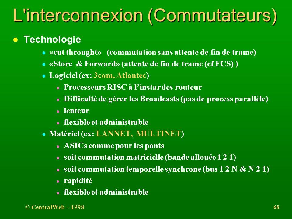 © CentralWeb - 1998 67 L'interconnexion (Commutateurs) l Relie plusieurs segments physiques, l Equipement configuré de manière à gérer une ou plusieur