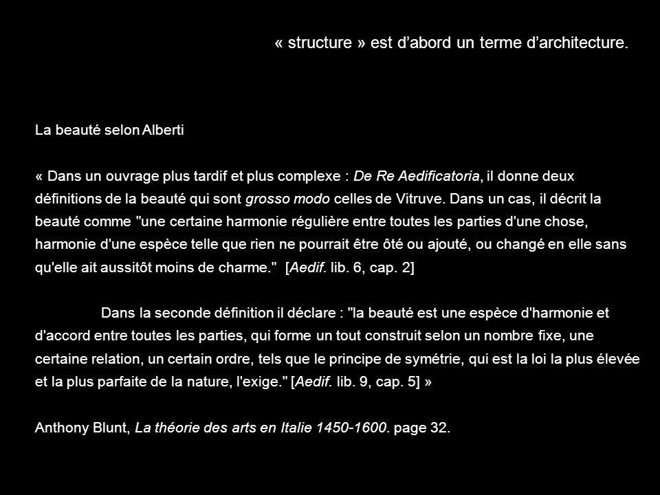« structure » est dabord un terme darchitecture. La beauté selon Alberti « Dans un ouvrage plus tardif et plus complexe : De Re Aedificatoria, il donn