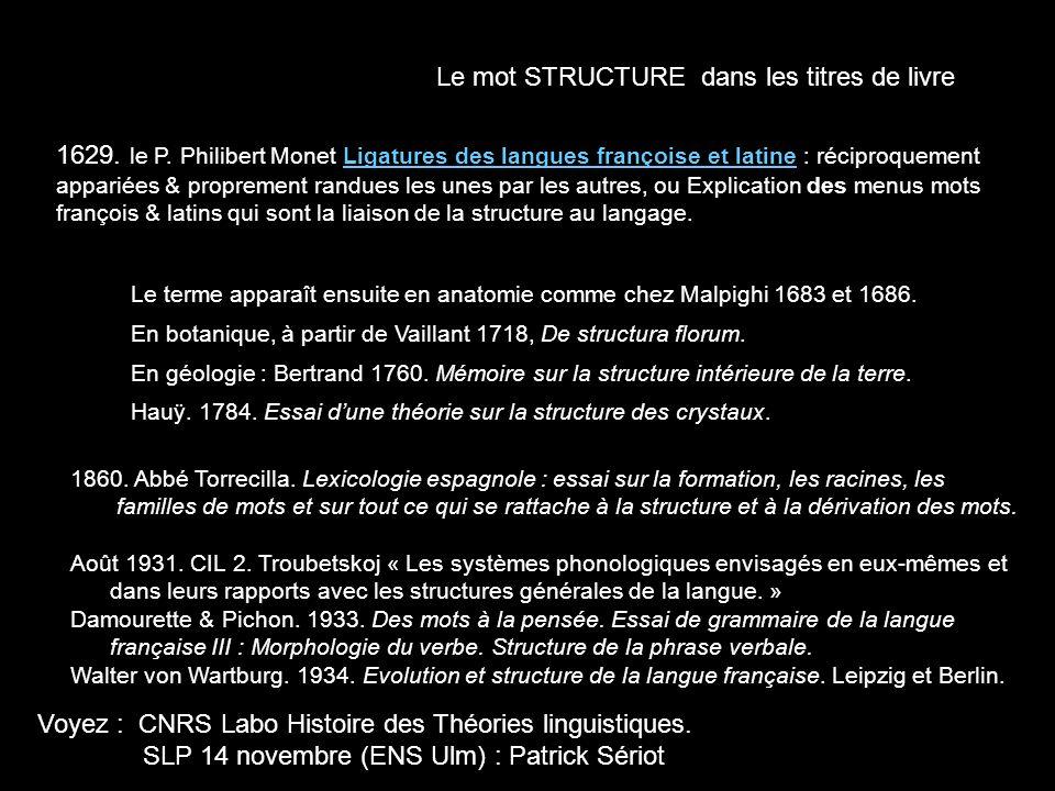 Le mot STRUCTURE dans les titres de livre 1629. le P. Philibert Monet Ligatures des langues françoise et latine : réciproquement appariées & propremen