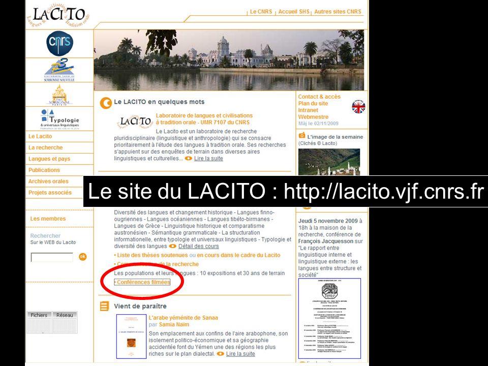 Le site du LACITO : http://lacito.vjf.cnrs.fr