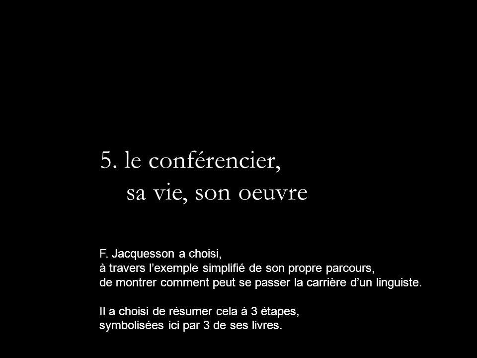 5. le conférencier, sa vie, son oeuvre F. Jacquesson a choisi, à travers lexemple simplifié de son propre parcours, de montrer comment peut se passer