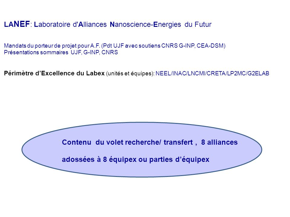 La présentation générale des enjeux et domaines scientifiques du contrat du CNRS se résume dans ce panorama. Comment se positionnent lInstitut Néel, l