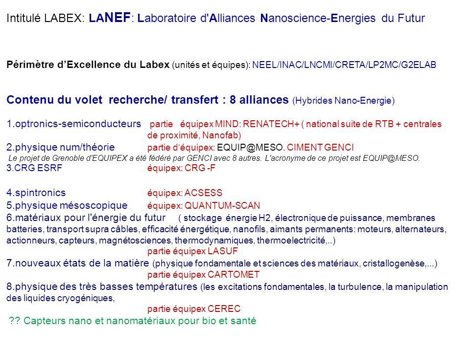LA NEF Laboratoire d'Alliances Nanoscience-Energies du Futur Physique numérique & Théorie Formations Initiale, Master, Doctorat, DUT, Ecole, Permanent