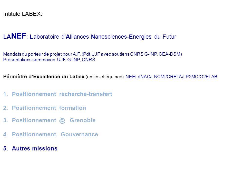 - Benchmarking national (quels autres projets équivalents ?) Labex