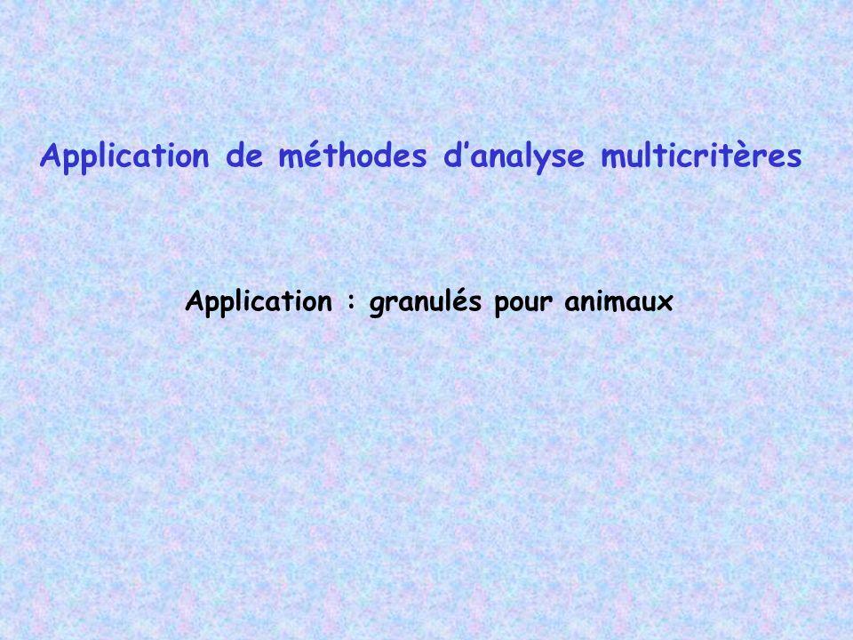 Application de méthodes danalyse multicritères Application : granulés pour animaux