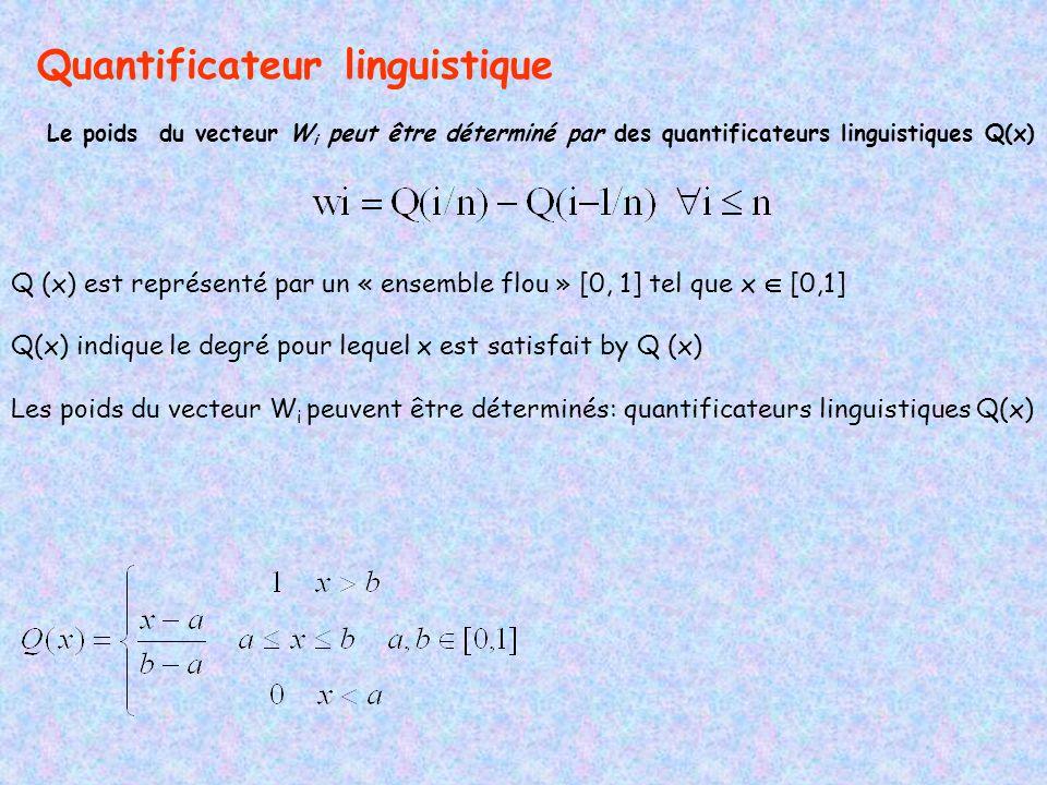 Quantificateur linguistique Le poids du vecteur W i peut être déterminé par des quantificateurs linguistiques Q(x) Q (x) est représenté par un « ensemble flou » [0, 1] tel que x [0,1] Q(x) indique le degré pour lequel x est satisfait by Q (x) Les poids du vecteur W i peuvent être déterminés: quantificateurs linguistiques Q(x)