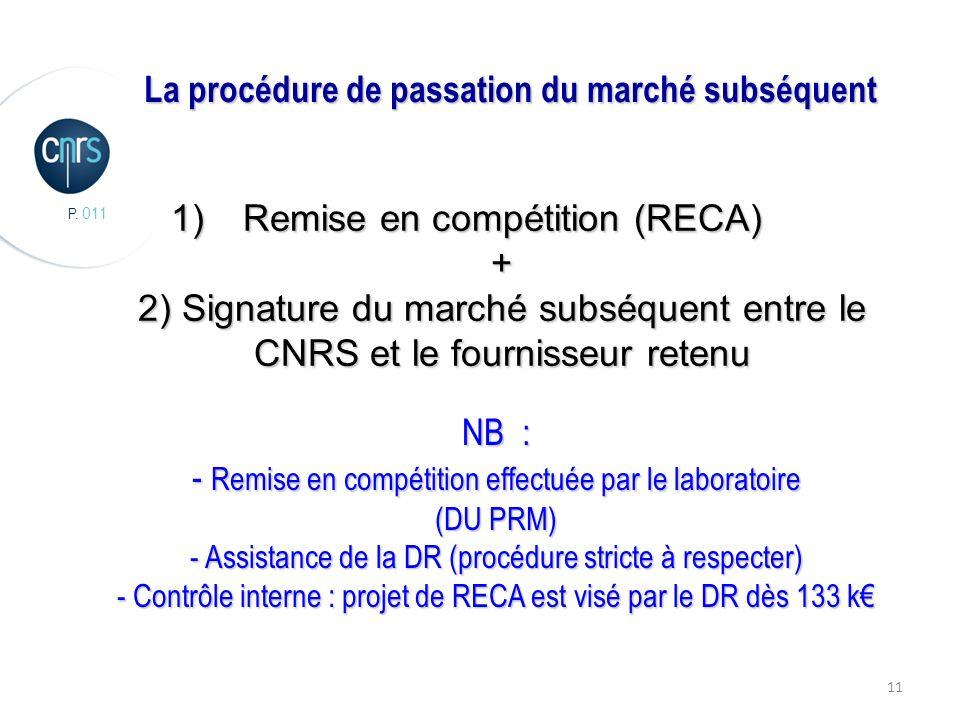 P. 011 11 La procédure de passation du marché subséquent 1)Remise en compétition (RECA) + 2) Signature du marché subséquent entre le CNRS et le fourni
