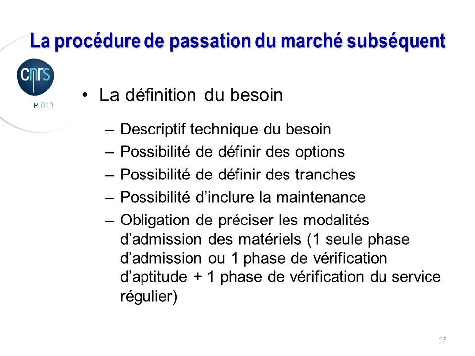 P. 013 13 La procédure de passation du marché subséquent La définition du besoin –Descriptif technique du besoin –Possibilité de définir des options –