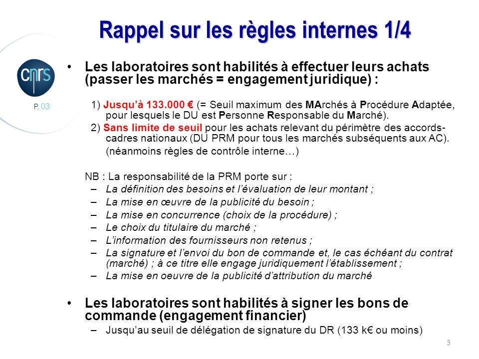 P. 03 3 Rappel sur les règles internes 1/4 Les laboratoires sont habilités à effectuer leurs achats (passer les marchés = engagement juridique) : 1) J