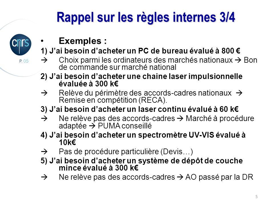 P. 05 5 Rappel sur les règles internes 3/4 Exemples : 1) Jai besoin dacheter un PC de bureau évalué à 800 Choix parmi les ordinateurs des marchés nati